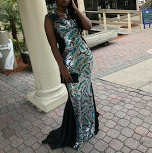 Black silver and teal blue prom or evening dress
